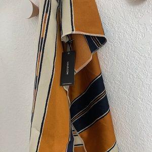 Lulu's Accessories - Dark Mustard Navy Blue Striped Scarf (Brand New!)